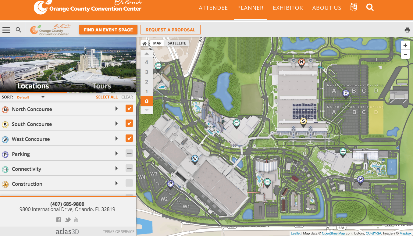 Orange County Convention Center Launches Interactive Map With Space Selection Planning Technology The It Nerd